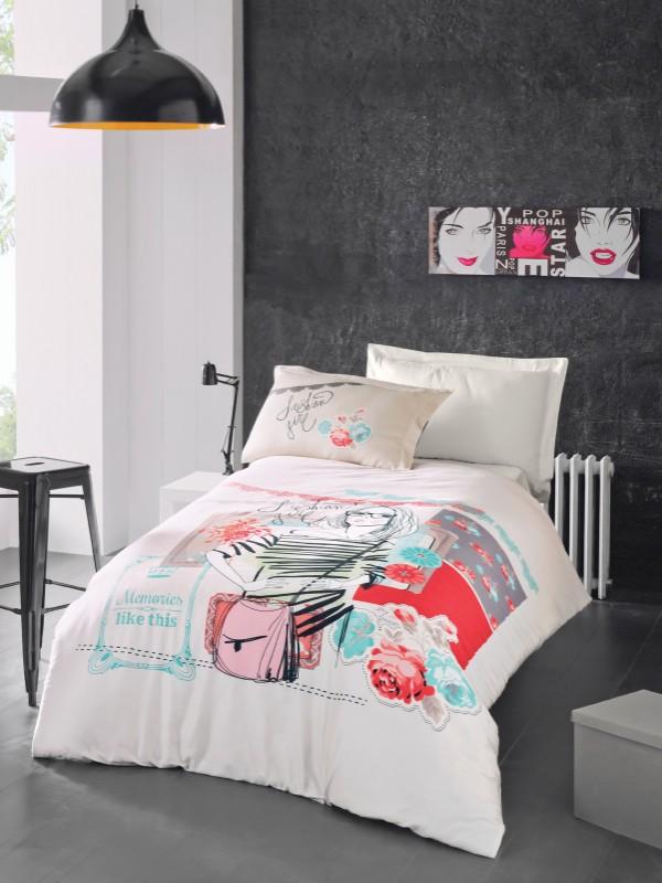 Elodie  Cena :5.700,00  Sadržaj single posteljine:  Navlaka za jorgan: (160×220) x1 Donji čaršaf: (180×240) x1 Jastučnica : (50×70)